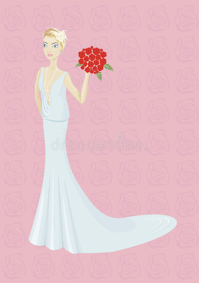 Download Bride with bouquet stock vector. Illustration of necklace - 17915439
