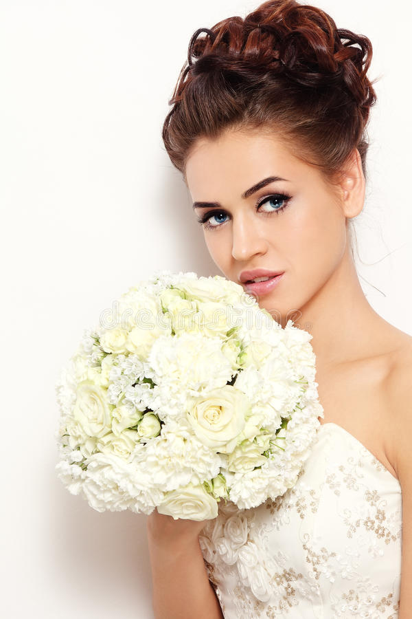 Download Bride with bouquet stock image. Image of woman, sensual - 24519303