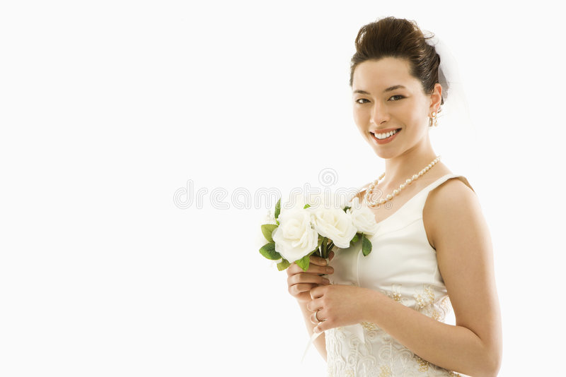 Bride with bouquet. royalty free stock photo