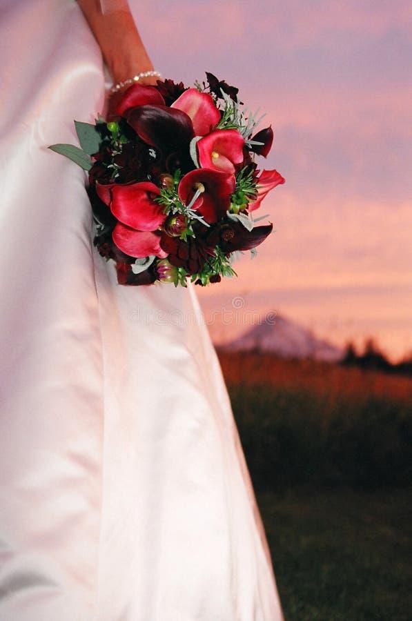 Bride & bouquet stock photo