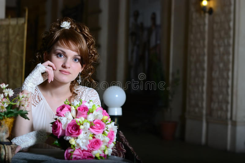 Download The Bride With A Bouquet In Cafe Stock Image - Image of bride, woman: 19788513