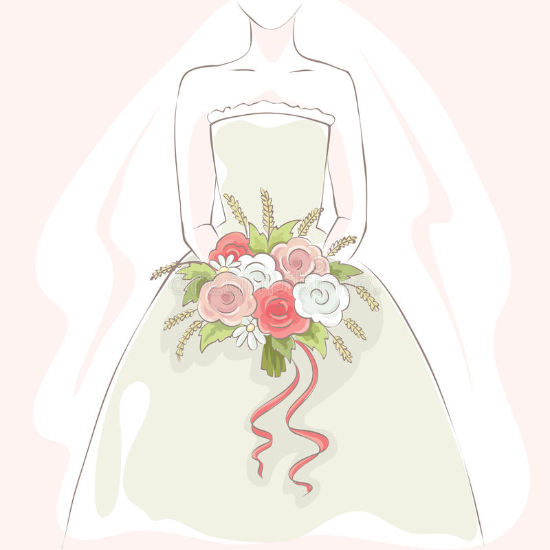 Bride with bouquet. Vector illustration, card, gentle young bride with flowers vector illustration