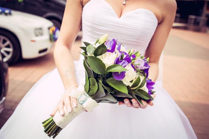 Bride with bouquet. Wedding ceremony. Kaliningrad region. photo taken 3/11/2016 royalty free stock photo