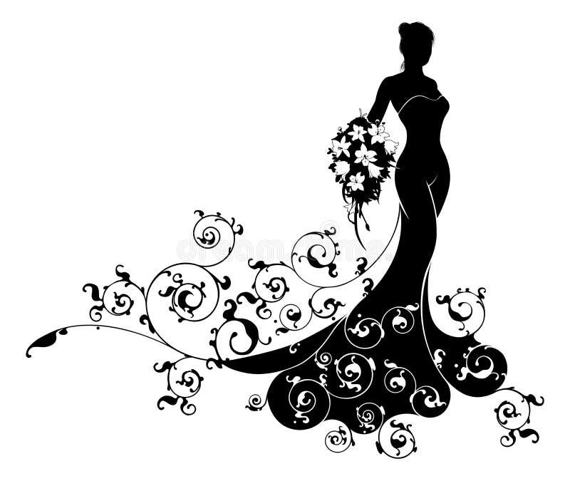 Wedding Gown Silhouette: Bride Bouquet Wedding Silhouette Pattern Stock Vector
