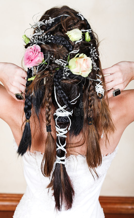 Download Bride With Braids And Roses Stock Image - Image: 4279869