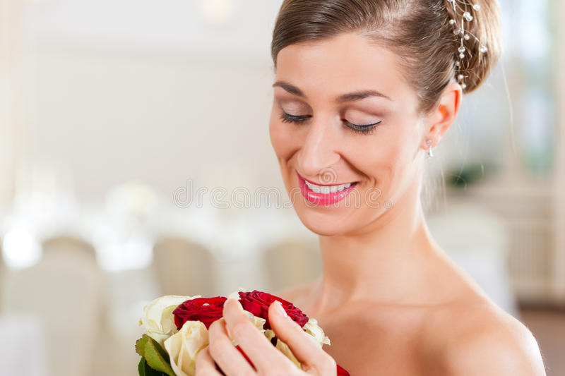 Download Bride with bridal bouquet stock image. Image of knot - 22402799