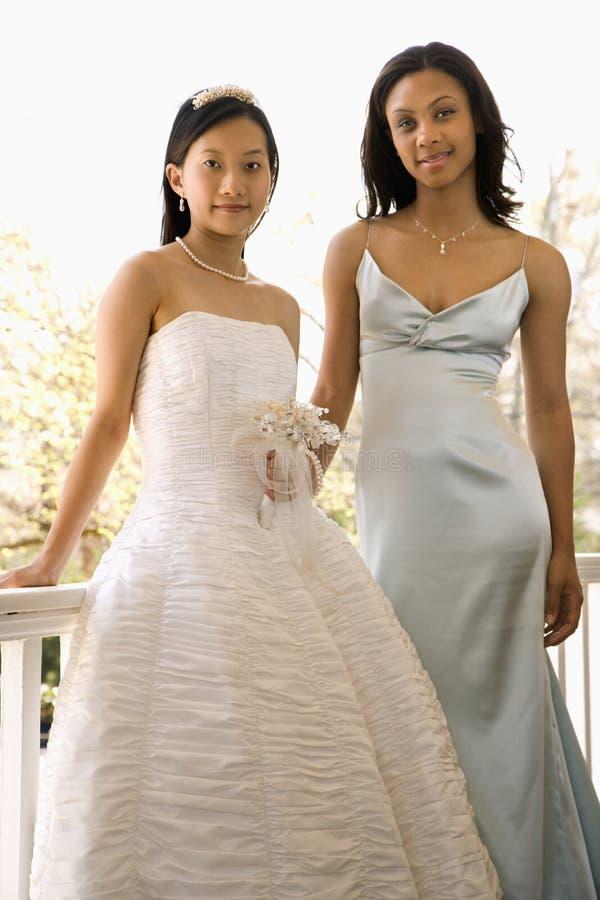 Bride and bridesmaid royalty free stock photos