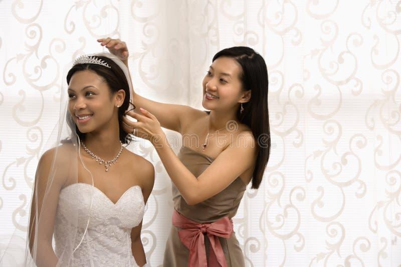 Bride and bridesmaid portrait. Asian bridesmaid adjusting veil of African-American bride stock image