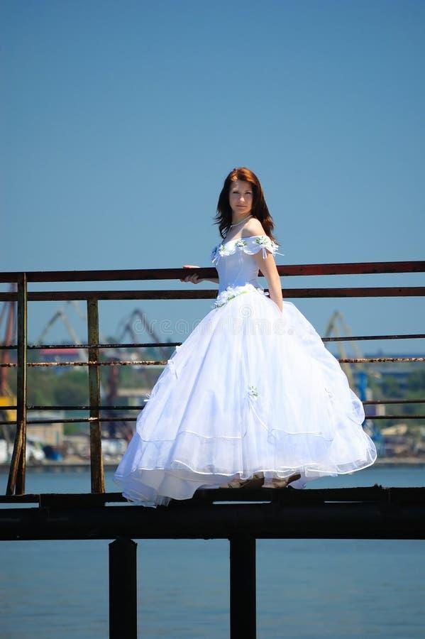 Download Bride on a bridge stock image. Image of hairdress, wedding - 13499815