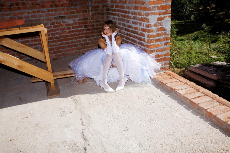 Bride in building site royalty free stock images