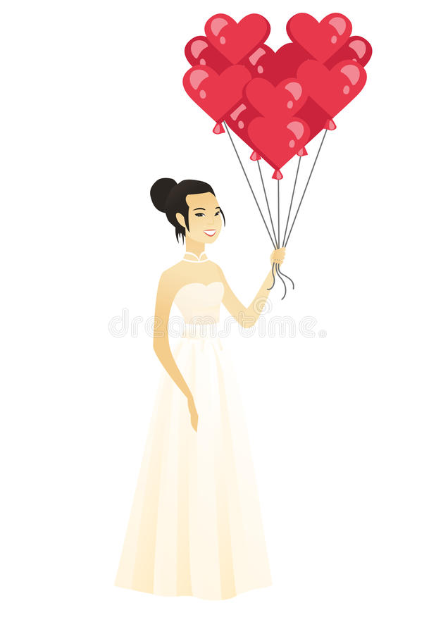 Bride with bunch of heart-shaped red balloons. royalty free illustration