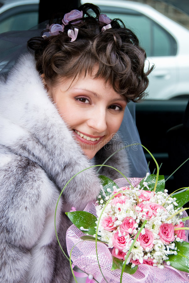Download Bride in the car stock photo. Image of shoulders, pleasure - 5922158