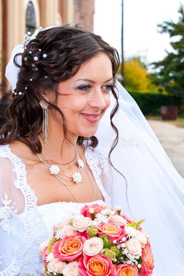 Bride at the church royalty free stock images