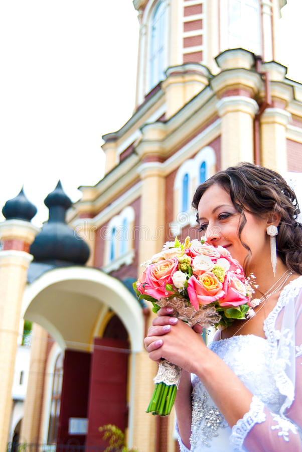 Bride at the church royalty free stock photography