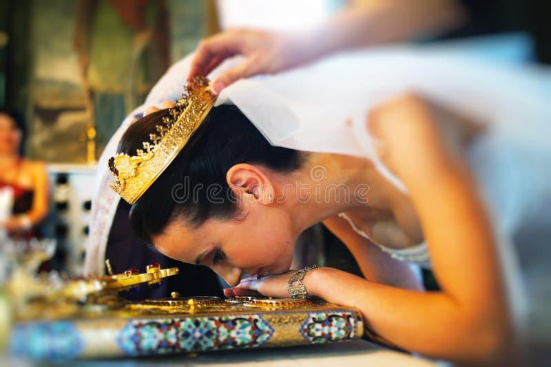 Bride in church royalty free stock photos