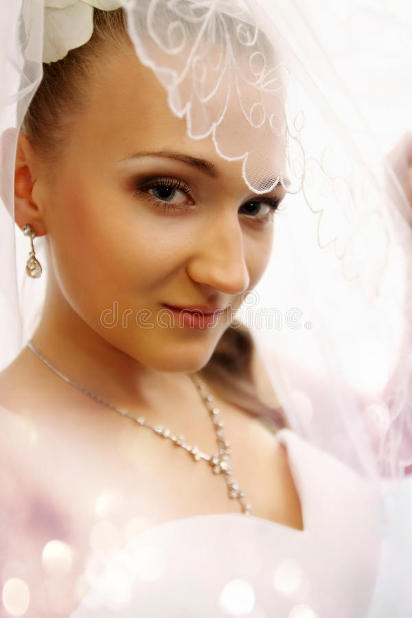 Bride Closed Veil Royalty Free Stock Images