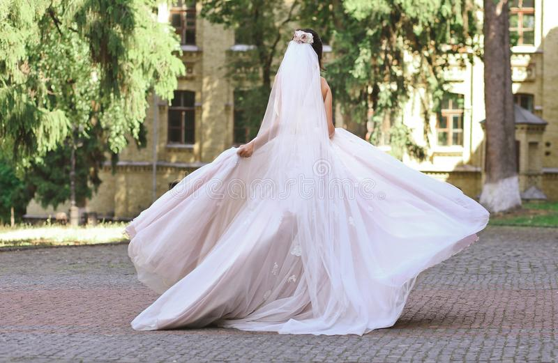 Bride dancing and spinning stock image