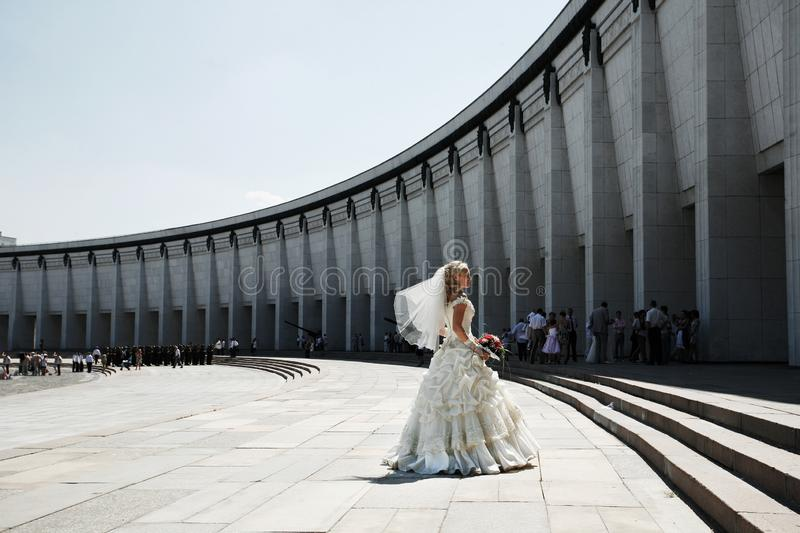 Bride   dancing at Victory park stock photography
