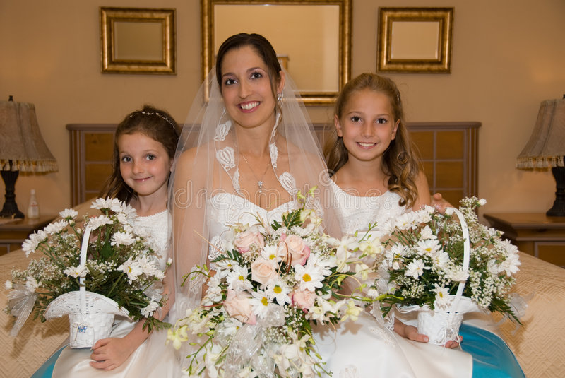 Bride and daughters royalty free stock photos