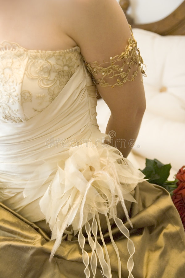 Bride dress. With ornamented details stock photography