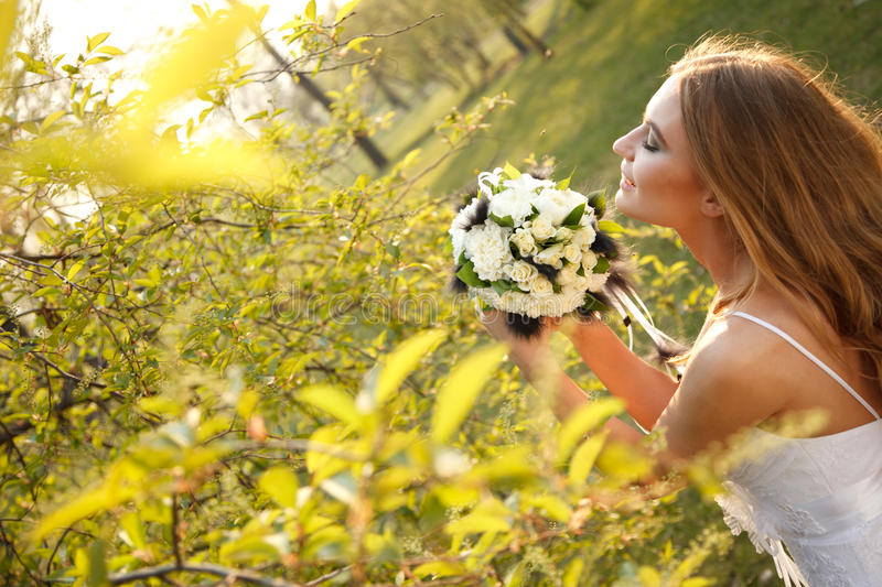Download Bride with flowers stock photo. Image of hippie, looking - 30096360