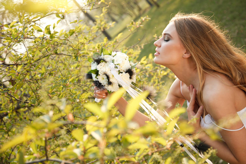 Bride With Flowers Stock Photos