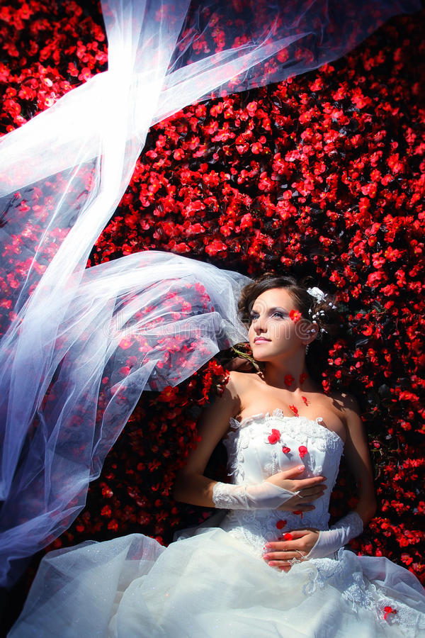 Bride in flowers. Woman in dressbride is lying in flowers on wedding royalty free stock photography