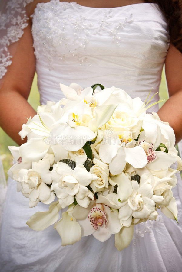 Bride with flowers stock photo