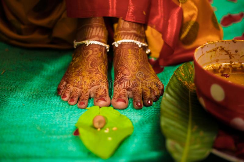 Bride foot , Indian Wedding royalty free stock images