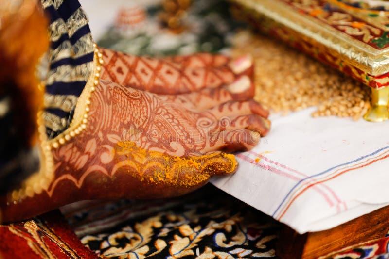 Bride foot , Indian Wedding stock photo
