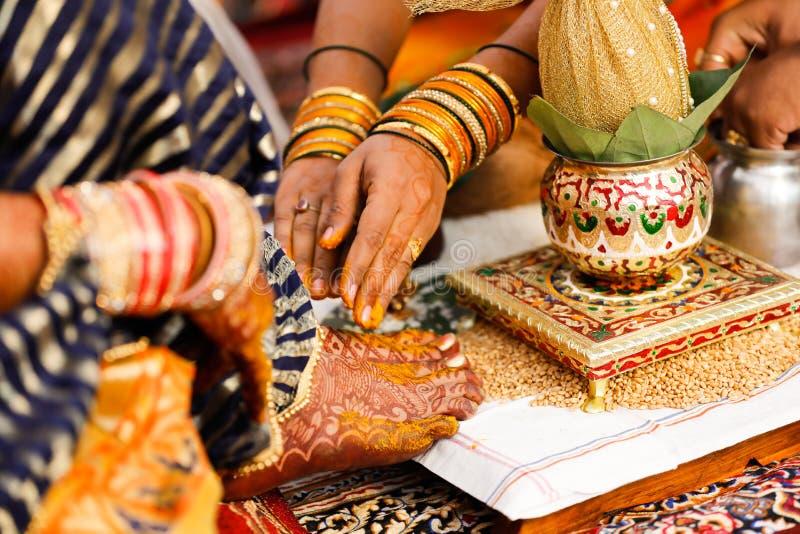 Bride foot , Indian Wedding stock photos