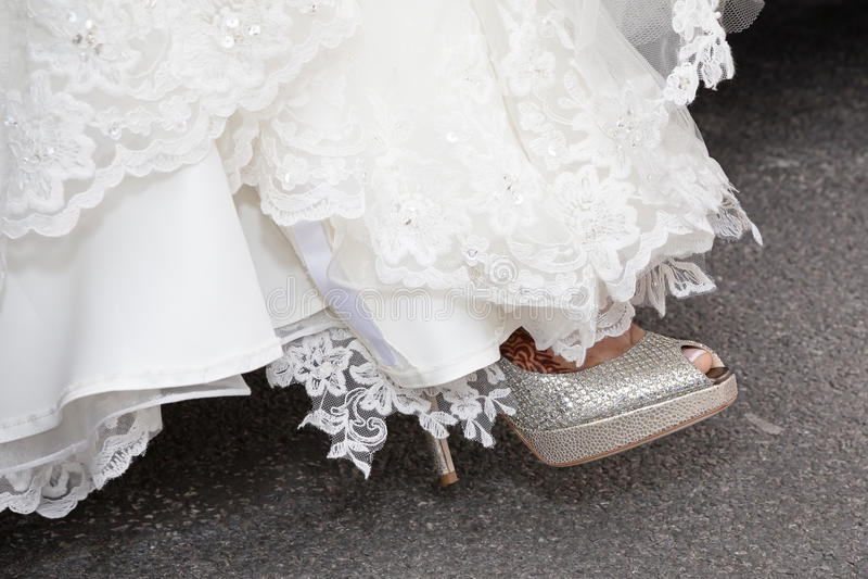 Bride foot shoe royalty free stock photo