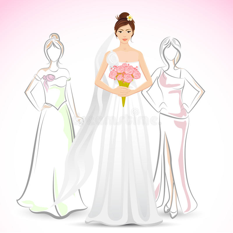Download Bride with Friend stock vector. Image of floral, background - 26454263