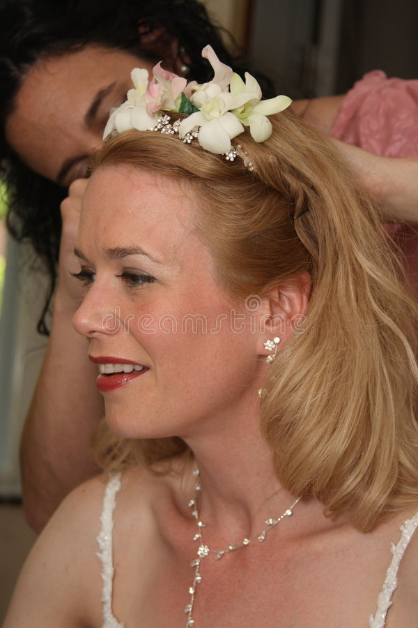 Download Bride And Friend Fixing Hair Before Wedding Stock Photo - Image: 5300076