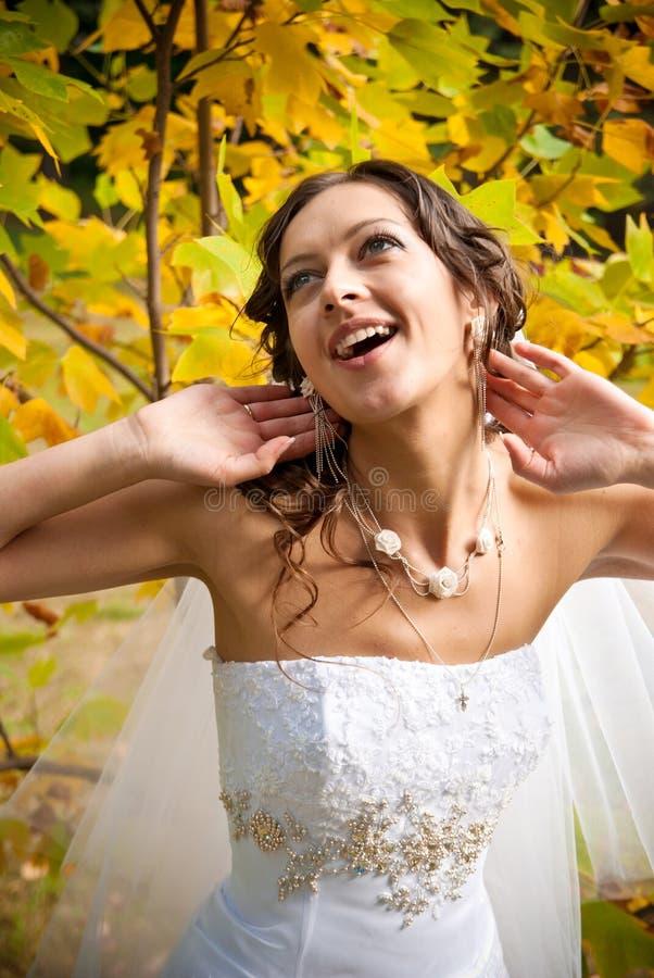 Bride in a garden stock image