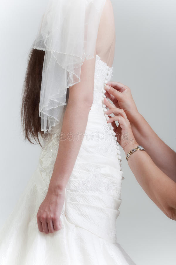 Download Bride getting dressed stock photo. Image of gown, hands - 20786628