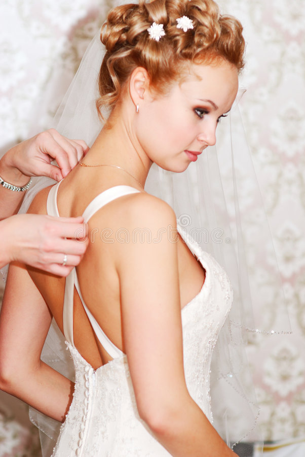 Bride getting ready royalty free stock images