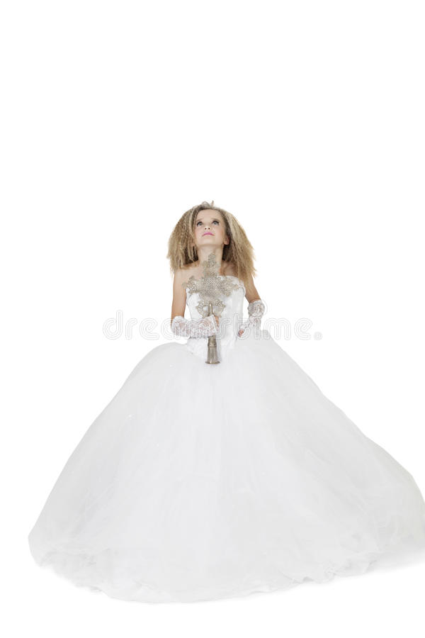 Download Bride Girl In Wedding Gown Holding Crucifix Looking Up Over White Background Royalty Free Stock Image - Image: 29673876
