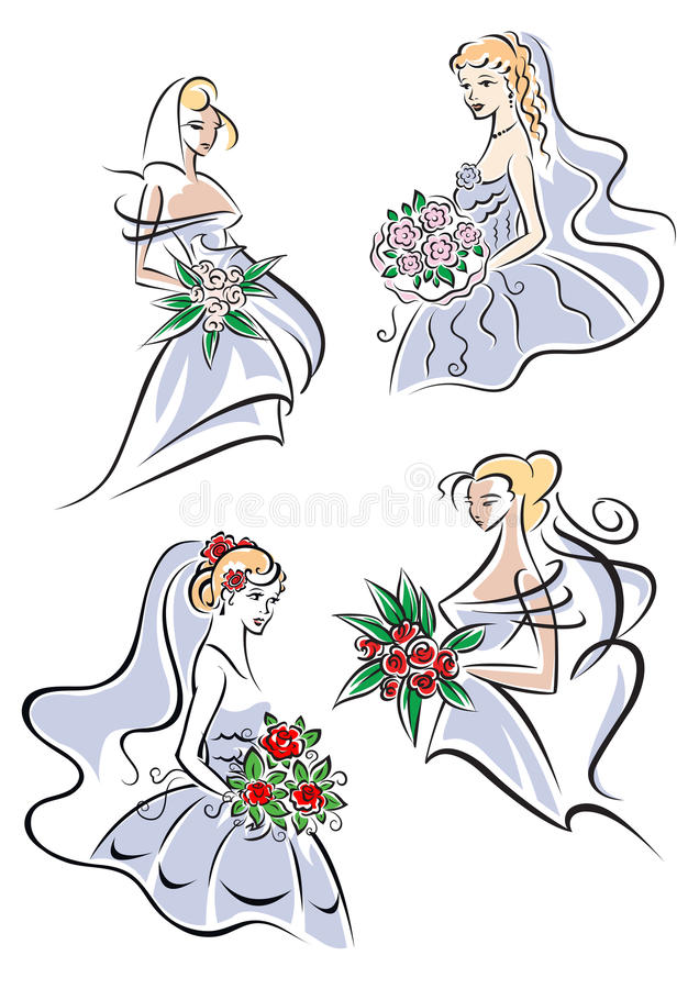 Bride in gown holding flowers stock photography