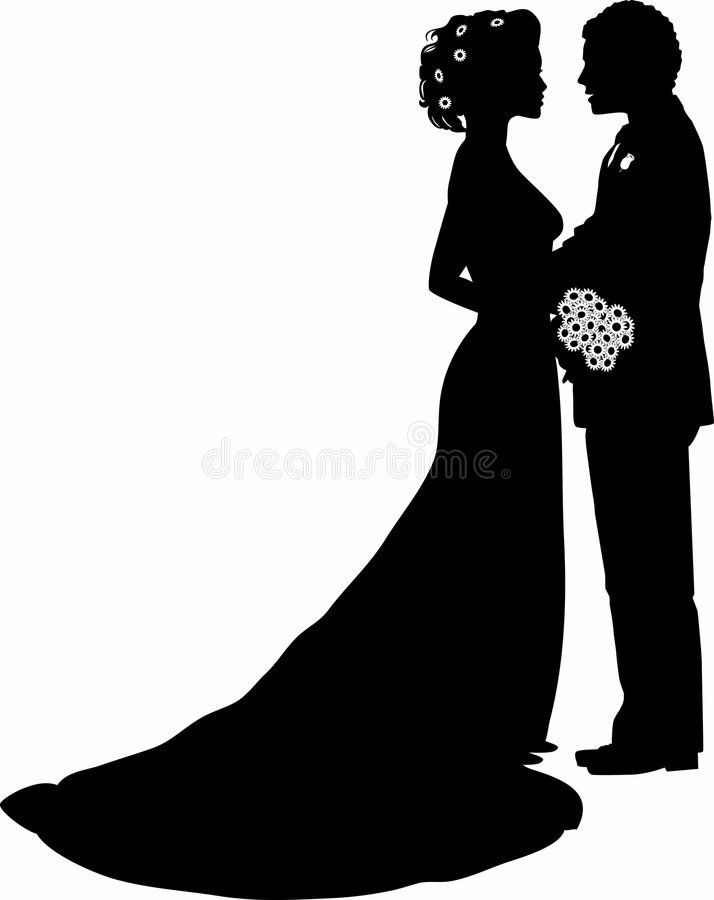 Bride and groom. Silhouette graphic depicting a bride and groom