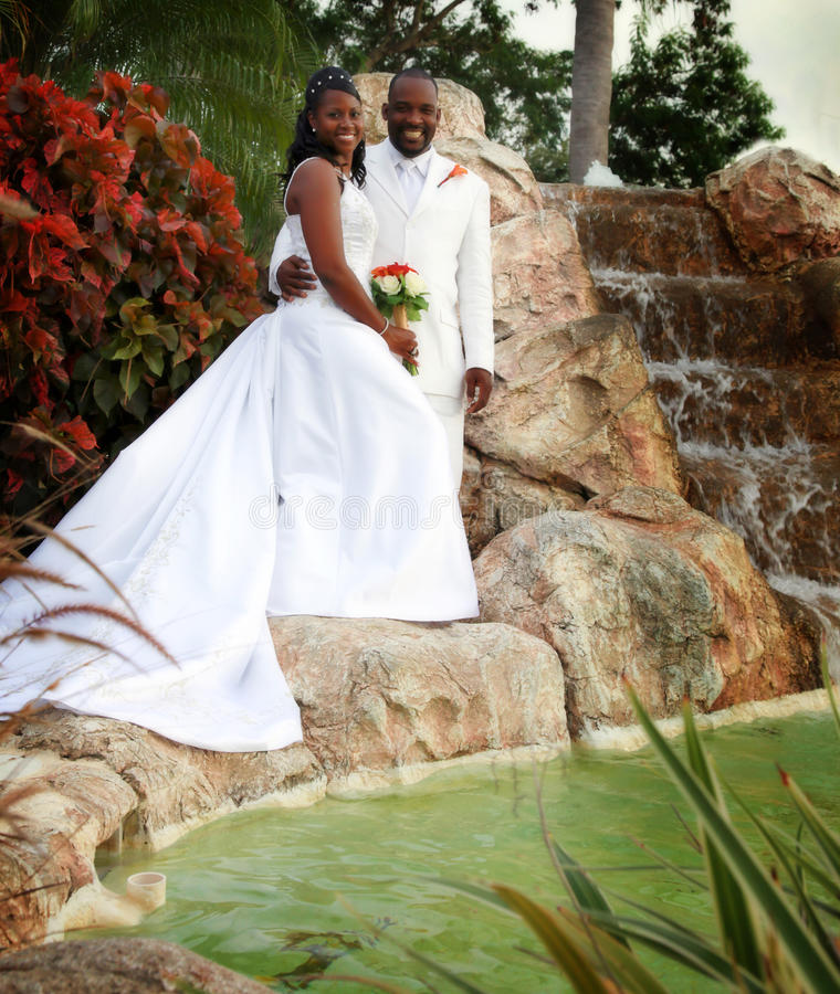 Bride and Groom. An African american wedding couple standing in a tropical setting royalty free stock photos