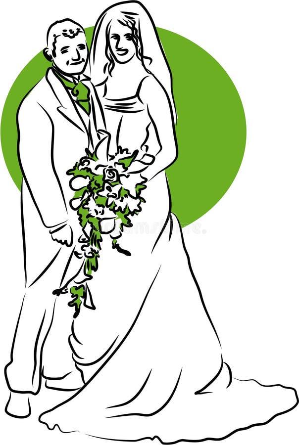 Bride and Groom vector illustration