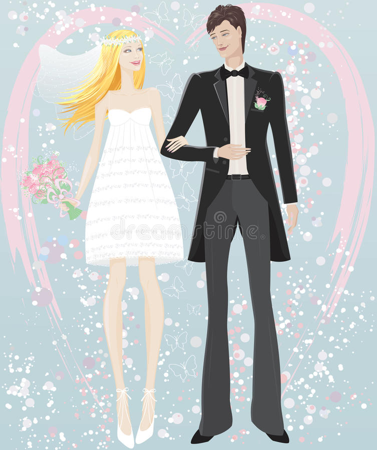 Download Bride and groom stock vector. Illustration of male, flower - 21912568