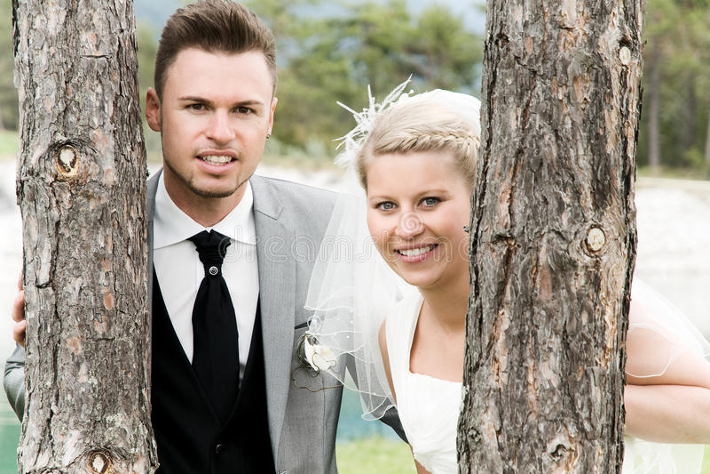 Bride and groom. Couple celebrating their wedding stock photo