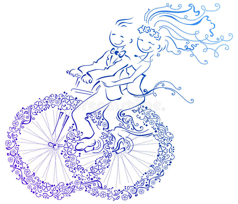 Bride and groom. Abstract illustration of bride and groom. They go on a bicycle from wedding rings stock illustration