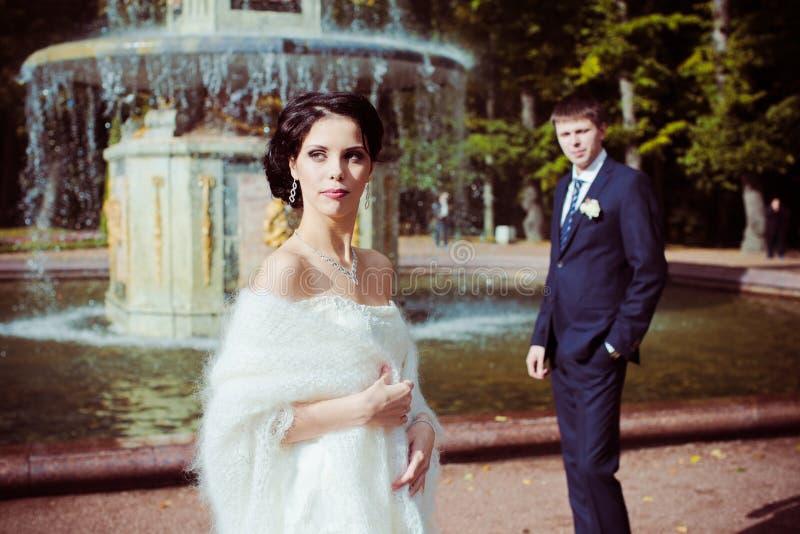 Bride and groom. Against fountain stock photos