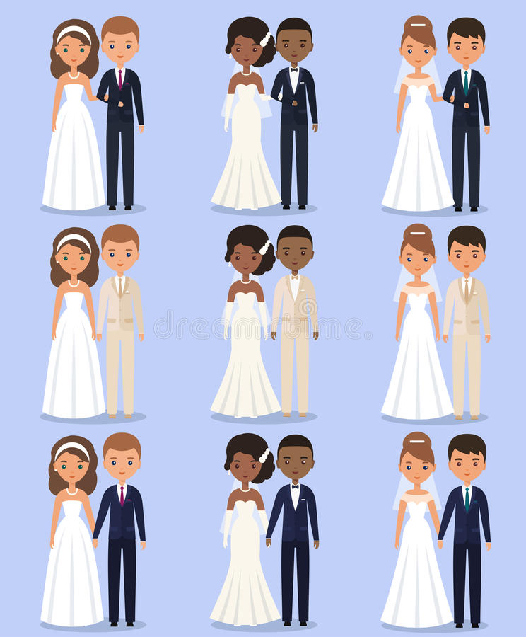 Bride and groom animated characters. Vector illustration. royalty free illustration
