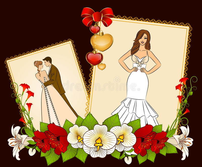 Bride and groom on a background with flowers stock illustration