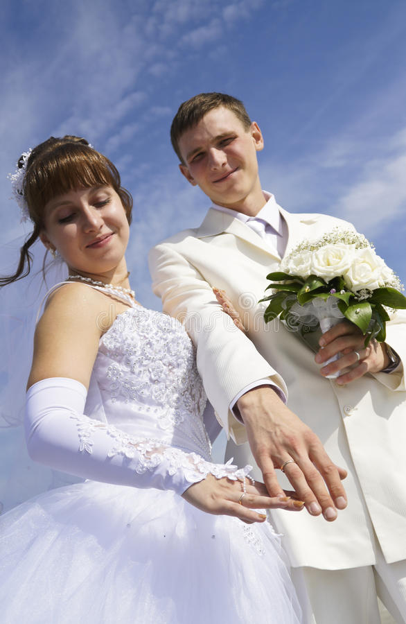 The bride and groom boast rings. The bride and groom wedding rings boast stock image