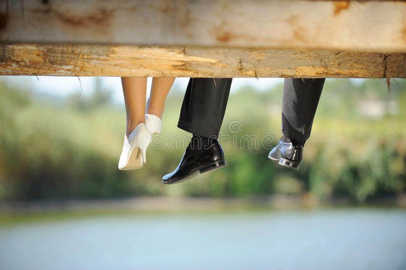 Bride and Groom on a Bridge stock photos